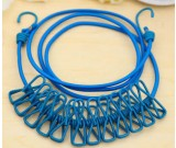 Portable 12 clips Clothesline for Outdoor Indoor Home Travel Drying