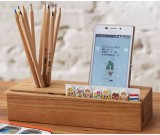 Wooden Office Supplies Desk Storage Box Pen Pencil Holders Mobile Phone Stand