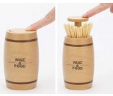 Push Style Wooden Automatic Toothpick Holder Container