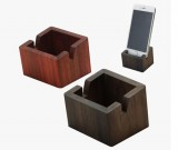 Simple wooden cell phone holder with storage box