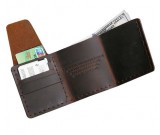 Handmade Leather Three-Fold  Wallet Credit Card Holder