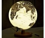Rotating LED World Globe Map Table Lamp with Wood Base, 25cm Diameter