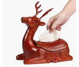Simple Fashion Red Wooden Pig/Elephant/Deer Desktop Household Tissue Box