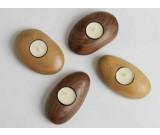 Tea Light Wooden Pebble Candle Holder(single)