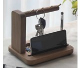Black Walnut Wooden Key Rack Desk Organizer  Pen Pencil Holder Phone Stand Holder