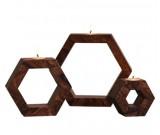 Wooden Candlestick Holder - Bag of 3