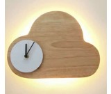 Wooden Clouds Led Night light With Wall Clock