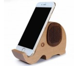 Wooden Elephant Shaped Bluetooth Speaker  Mobile Phone Display Stand