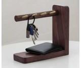 Wooden & Brass  Key Rack Holder  Phone Essentials Shelf