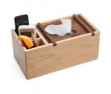 Wooden Multi-Function Tissue Box Cover Desktop Remote Control Holder Storage Box