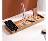 Wooden Multifunctional Desktop Card/Pen/Pencil/Mobile Phone Office Supplies Holder Display Organizer
