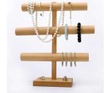Wooden Necklace & Bracelet Jewelry Display Stand & Organizer,Beech