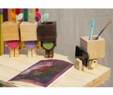 Wooden Robot Pen Pencil Phone Holder Desk Organizer Flowerpot