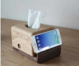 Wooden Whale Tissue Box Mobile Phone Display Stand