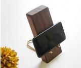 Black Walnut Brass Wood Phone Holder