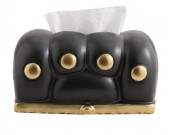Cute cartoon cat paw modern art black ceramic tissue box