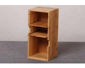 3 Compartments Wooden Divided Boxes Desktop Storage Home Office Organizer Case
