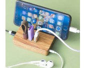 Wooden USB 3.0 3-Port Portable Hub  with Stand for All Phones