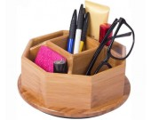 360 Degree Bamboo Wooden Rotation Office Supplies Storage Container