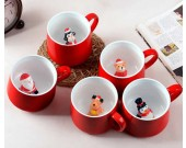 3D Cartoon Miniature Animal Santa Snowman Christmas Tree Figurine Ceramic Coffee Cup