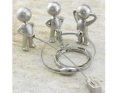3pcs/Set  Little Boy  Keyring Keychain Silver