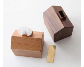 Brief Stylish Pastoral Small House Wooden Tissue Box Black Walnut Beech Wood