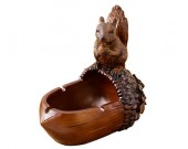 Creative vintage squirrel and pinecone resin ashtray small ornaments