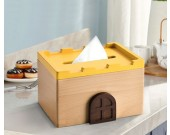 Fashion wooden small house castle tissue box home decoration idea