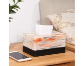 Exquisite red evening glow art decoration tissue box