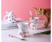 Cute cartoon cat paw ceramic mug Plum Spoon