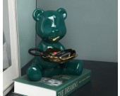 Cute dark green abstract bear storage tray Living room desktop pink decoration