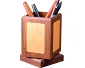 Classic rotating black walnut wooden square office organize pen holder