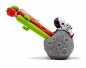 Cute cartoon astronaut with moon office desktop pen holder