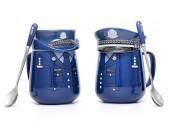 Creative blue police uniform ceramic mug gift cup