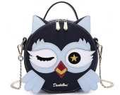 Fashion cute cartoon owl round handbag shoulder bag