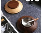 Creative UFO spaceship wooden ashtray