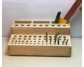 Creative multiple holes pen holder & tools organize wooden storage box 61-hole