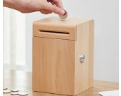 Creative strongbox wooden piggy bank coin box with key lock