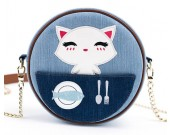 Simple and stylish kitten round canvas shoulder bag