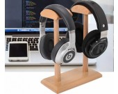 Creative Double Support Black Walnut Wooden Headphone Holder Desktop Organization