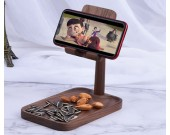 Adjustable Angle Black Walnut Wood Phone Holder Beech Key Storage Tray