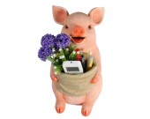 Art Creative Resin Pig Piggy Bank Pen Holder Flower Pot