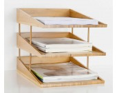 Bamboo Multi-Tier  Desk Organizer Tray Letter File Holder