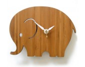 Bamboo Wood Elephant Wall Clock