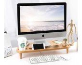 Wooden Computer Monitor Stand Riser With Desktop Storage Organizer