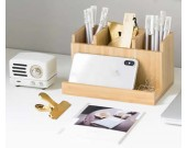 Bamboo Desk Organizer And Pencil Paper Clips Cell Phone Holder And Organizer