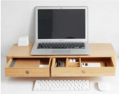 Bamboo Monitor Stand, Monitor Riser with Pull Out Drawer for Computer, Laptop, iMac