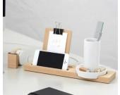 Bamboo Multifunction  Smart phone Charging Station and Desktop organizer