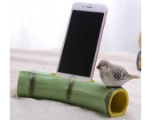 Bamboo Style Ceramic Speaker Sound Amplifier Stand Dock for SmartPhone