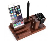 Bamboo Wooden Charge Dock Holder for Apple Watch & Docking Station Cradle Bracket for SmartPhones